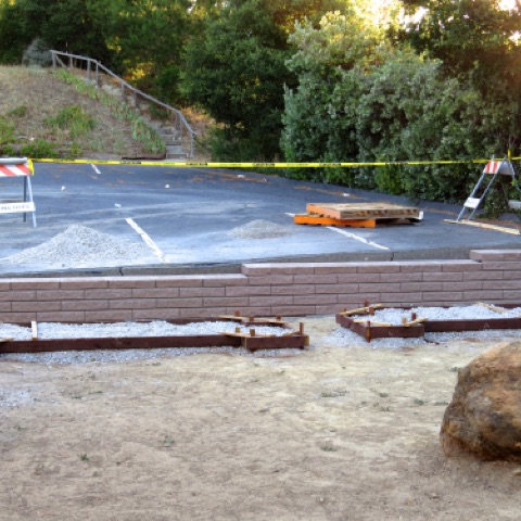 Retaining wall for the west side of the garden June 21, 2015