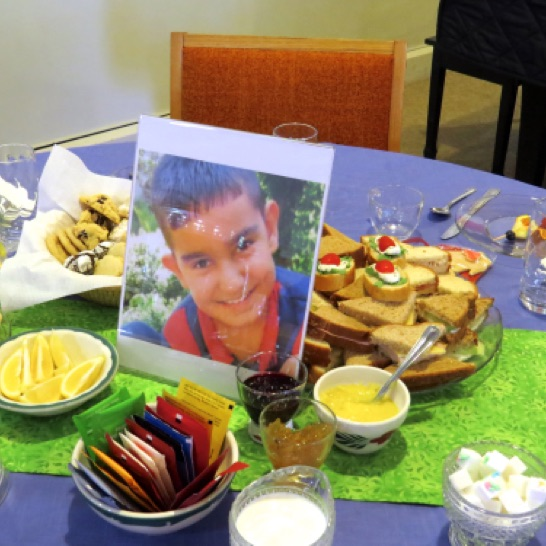Each table was adorned with the face of a child who has been part of the Shevet project.